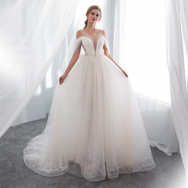 Boat Neck Wedding Dress Lace 2018 Ball Gown Wedding Gowns Robe De ...