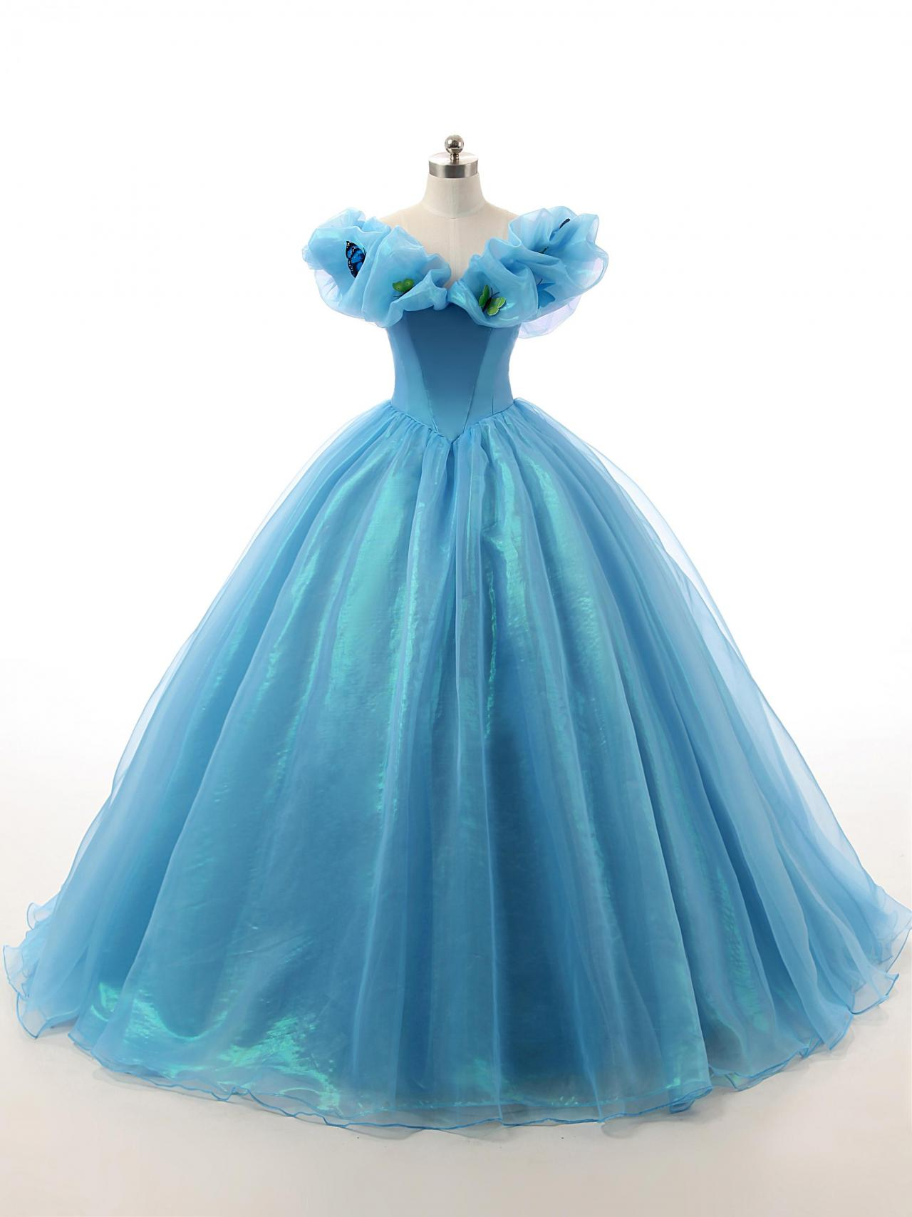 Sky Blue Cinderella Quinceanera Dresses 2017 New Movie Cosplay Costume Ball Gown Party Dresses Real On Luulla