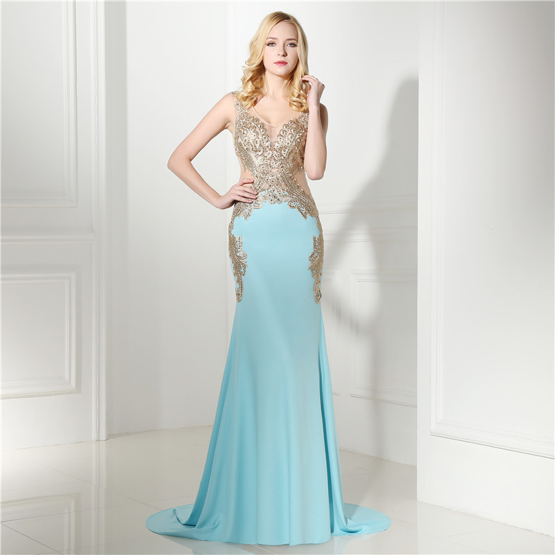 5b3d1725e2e9e Real Models Sexy Mermaid Light Blue And Gold Lace Party Dress Rhinestone  Sheer Back Prom Homecoming Dresses Vestido De Festa Formal Gown 2017